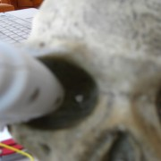 gluing LEDs into eye sockets