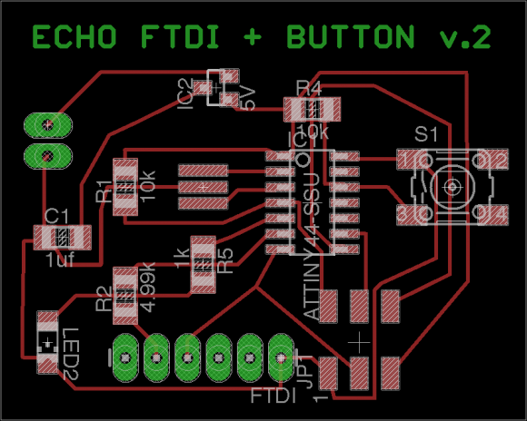 Modified Hello Echo + FTDI + Button v.2 - Board