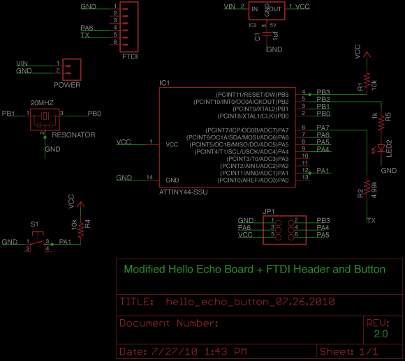Modified Hello Echo + FTDI + Button v.2 Schematic